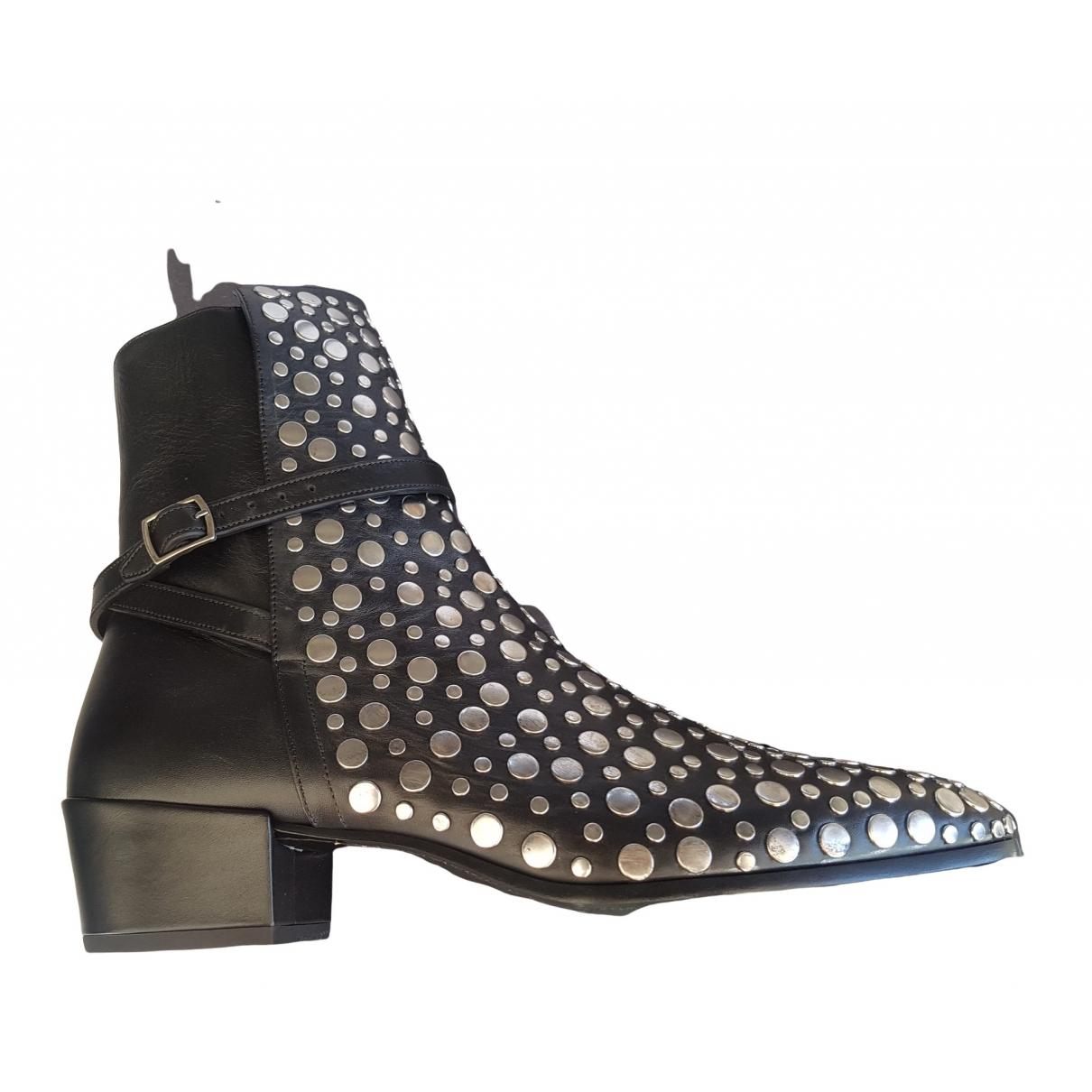 Saint Laurent Wyatt Black Leather Boots for Men 42.5 EU