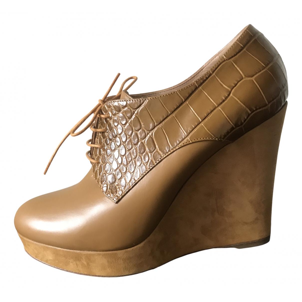Longchamp - Boots   pour femme en cuir - camel