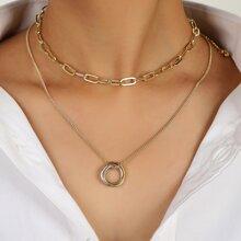 2 Stuecke Halskette mit Ring Dekor