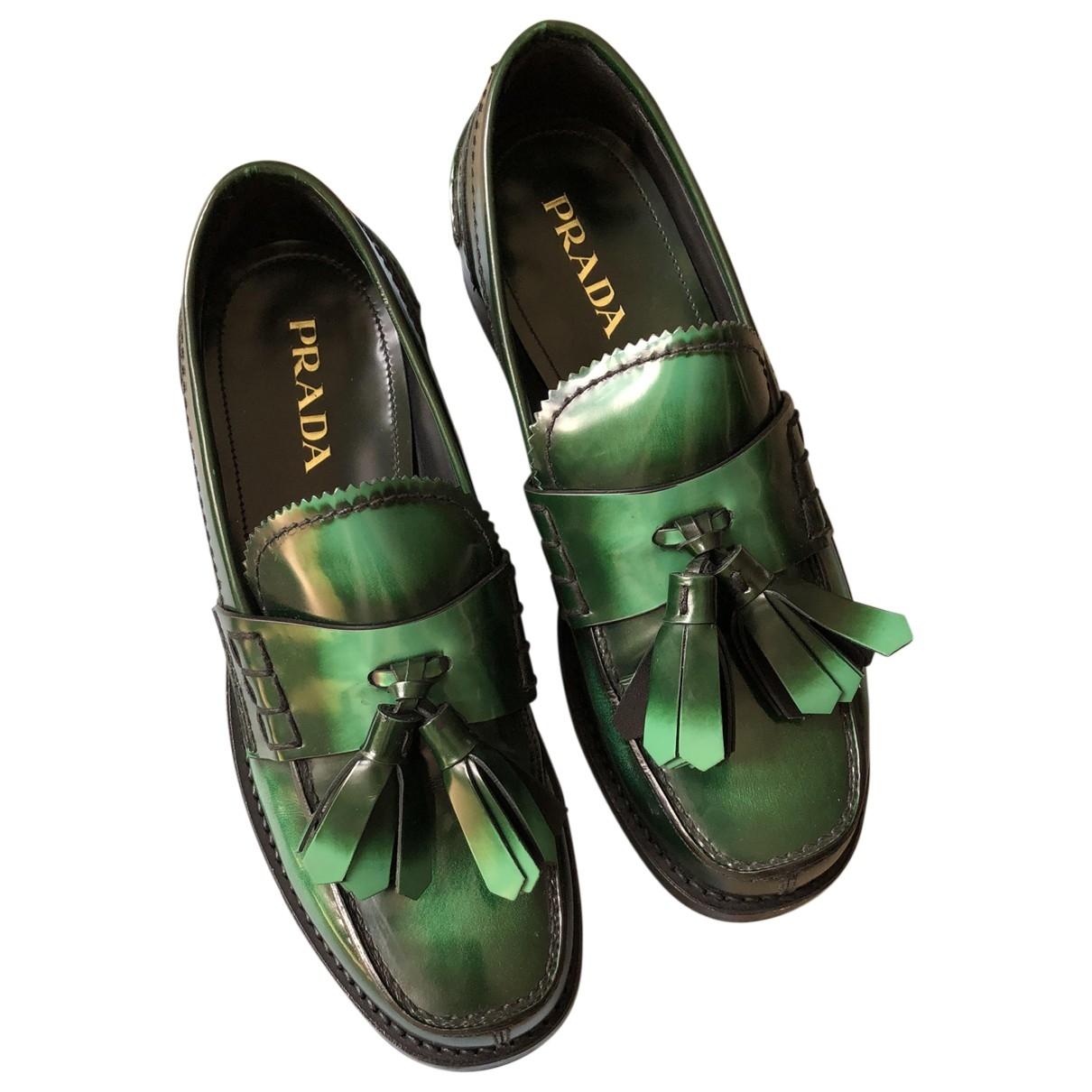 Prada \N Green Patent leather Flats for Women 37 EU
