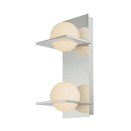 BV9132-10-15 Oil Rubbed Bronze it Double Lamp Vertical Vanity with White Opal Round Glass & Chrome