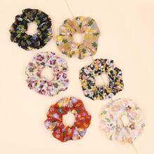 6 Stuecke Haargummis mit Blumen Muster