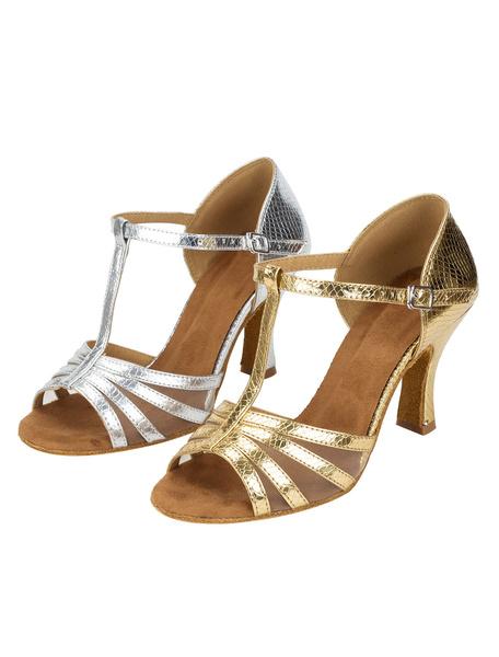 Milanoo Zapatos de bailes latinos de PU Tacon bobina para baile de puntera abierta