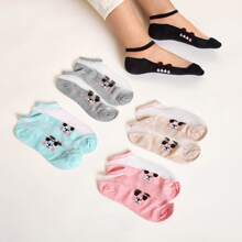 5 pares calcetines panel con malla con patron de perro