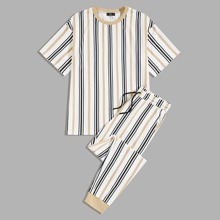 Men Striped Top & Drawstring Waist Sweatpants Set