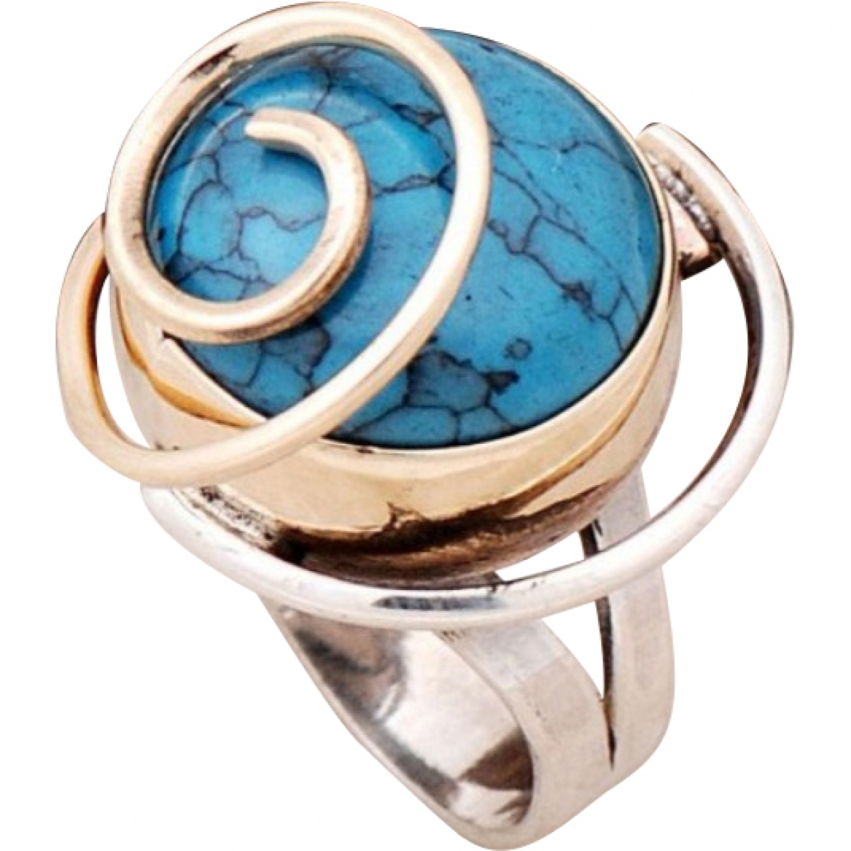 Non Signé / Unsigned Turquoises Blue Silver ring for Women \N