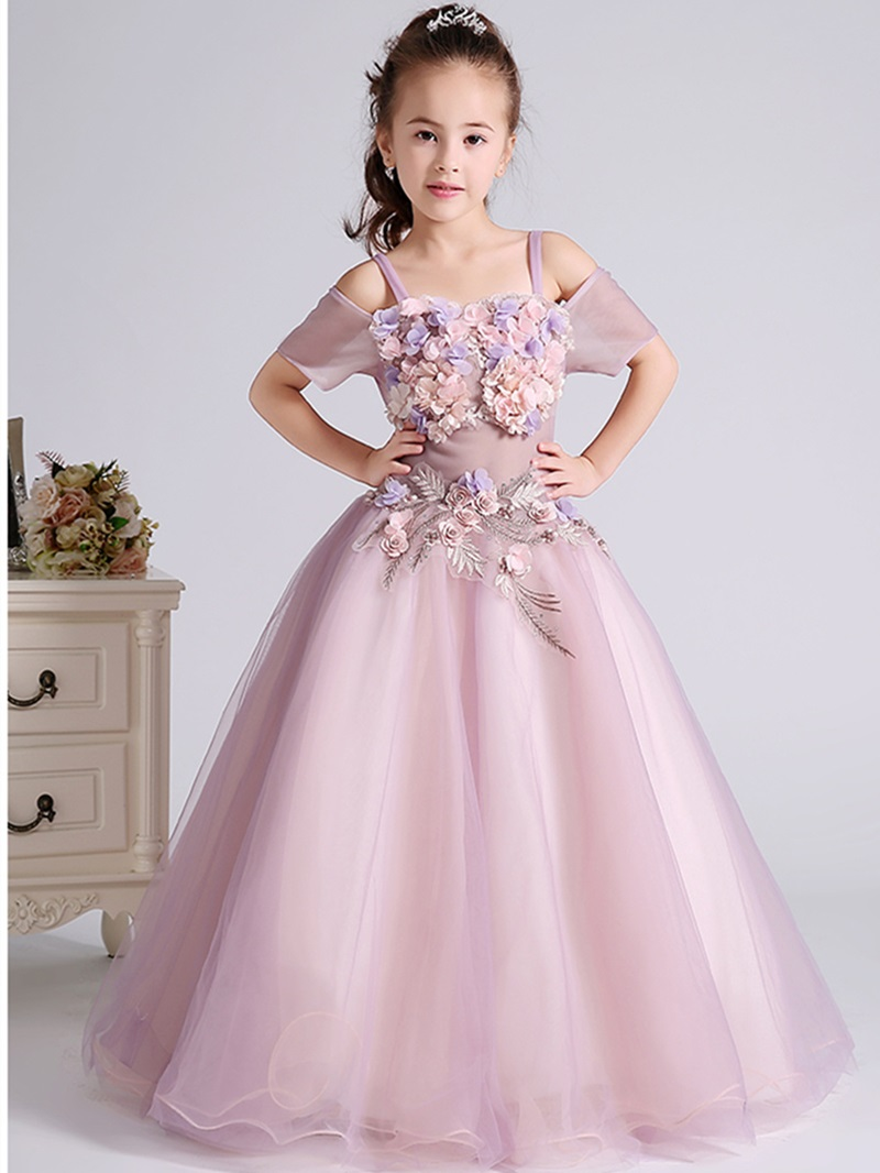Ericdress 3D Flowers Beading Short Sleeve Flower Girl Dress