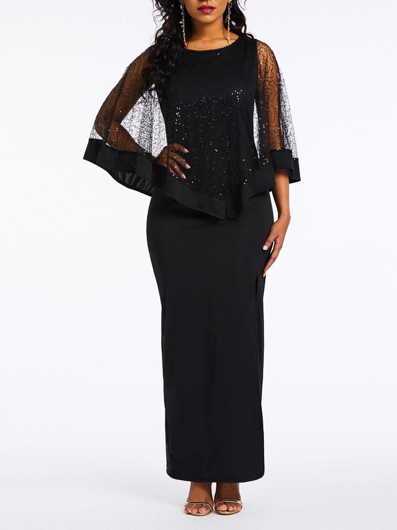 Ericdress Mesh Round Neck Elegant Bodycon Black Dress