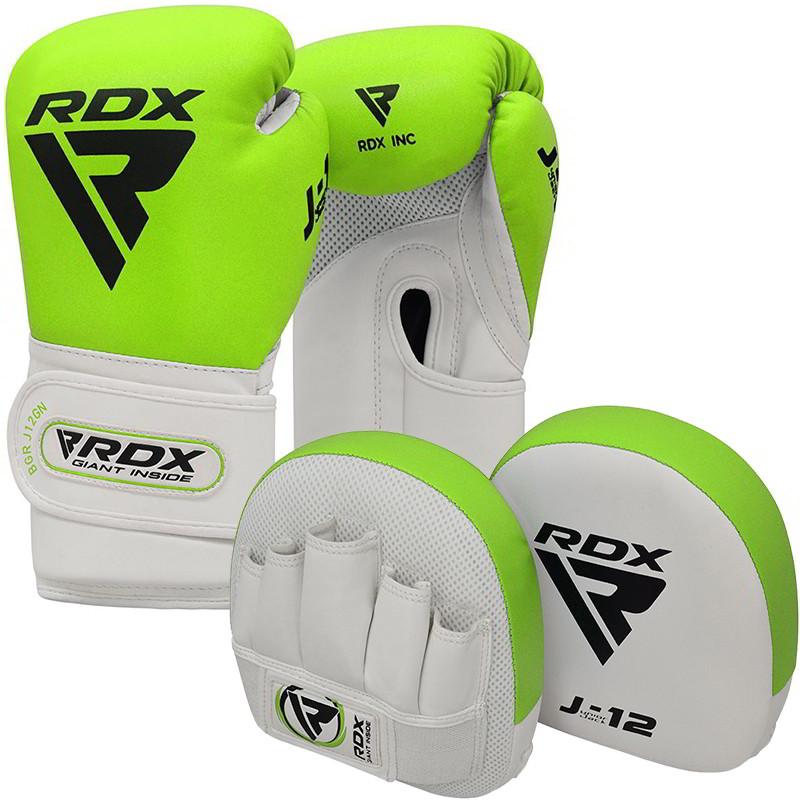 RDX J12 KIDS Set De Guantes De Boxeo De 6 oz Y Manoplas De Enfoque Verde