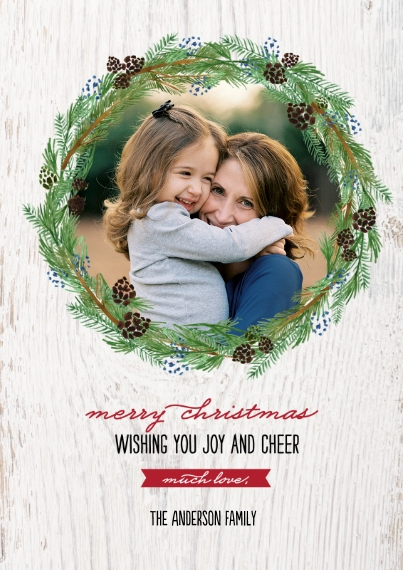 Christmas Photo Cards 5x7 Cards, Premium Cardstock 120lb with Scalloped Corners, Card & Stationery -Christmas Rustic Holiday Wreath