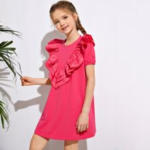 Girls Exaggerated Ruffle Trim Dress