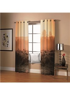 Blackout 3D Animal Print Curtains Wild Beauty Antelope and Dusk Print 200 Gram Weight 80% Shading Rate Provides Privacy and Decorative Appeal