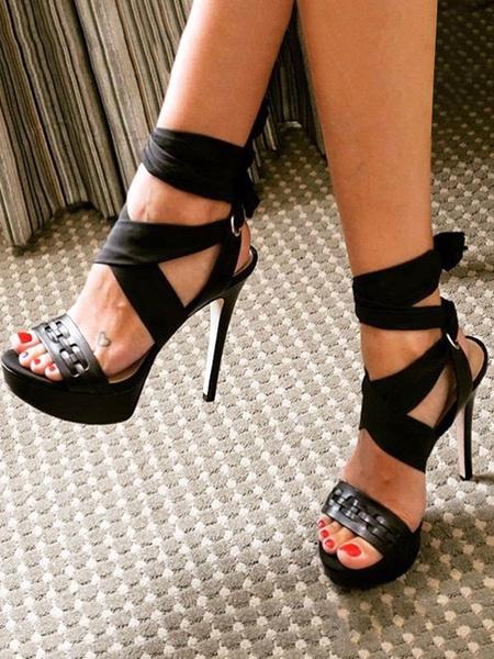 Milanoo Sandalias de tacon alto Zapatillas con cordones con punta abierta en color negro Zapatillas de mujer Zapatos sexy