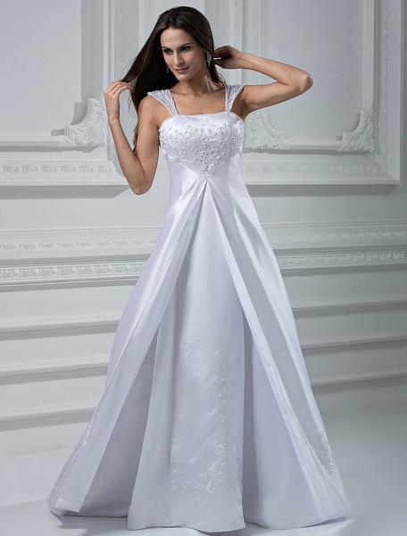 Milanoo Vestido de novia de saten con escote cuadrado y bordado de cola barrida