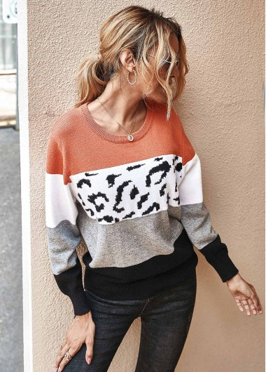 Trendy Leopard Contrast Long Sleeve Round Neck Sweater - M