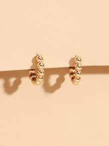 Bead Decor Hoop Earrings
