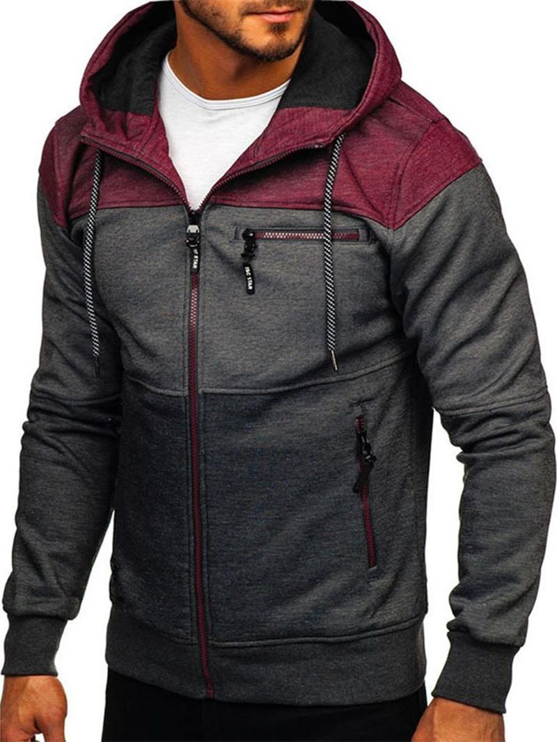 Ericdress Cardigan Patchwork Color Block Zipper Hoodies