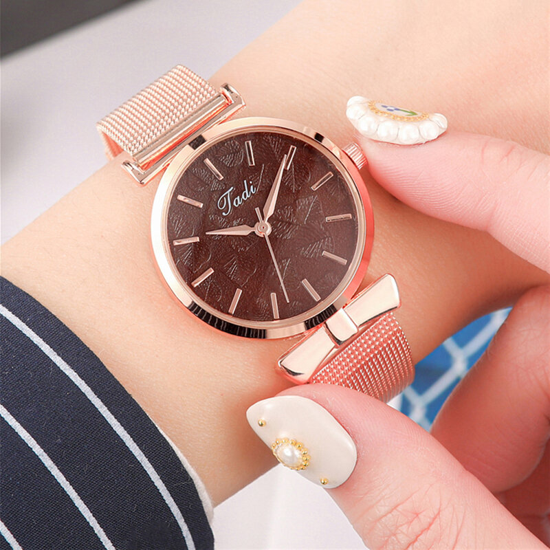 Fashion Elegant Women Watches Rose Gold Alloy Adjustable Band Case No Number Dial Quartz Watch