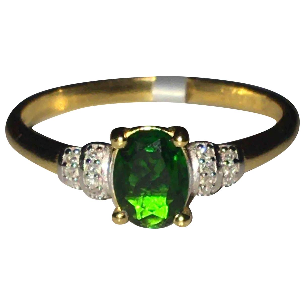 - Bague   pour femme en plaque or - vert