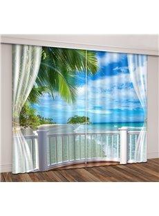 3D Seaside Beach Blue Sky White Cloud Printed Curtain