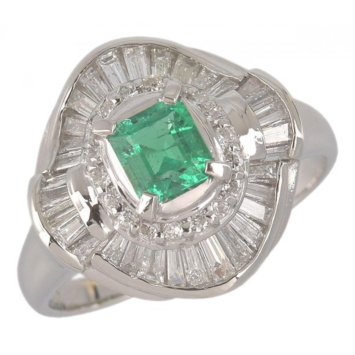 Non Signé / Unsigned Emeraude Green Platinum ring for Women 52 EU