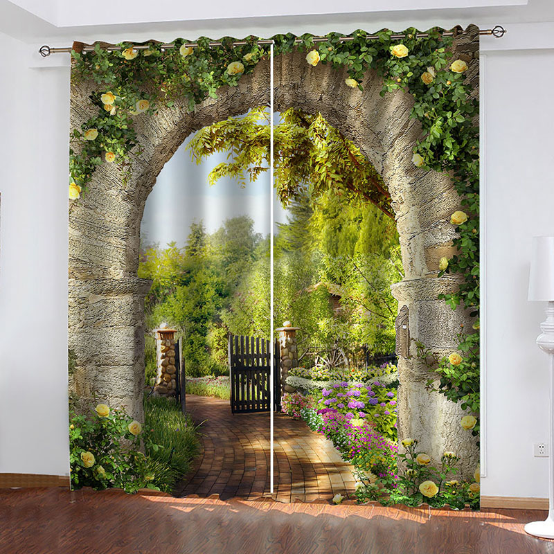 3D Landscape Decoration Blackout Window Curtains for Living Room Bedroom No Pilling No Fading No off-lining Blocks Out 80% of Light and 90% of UV Ray