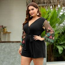 Plus Contrast Embroidered Mesh Belted Romper
