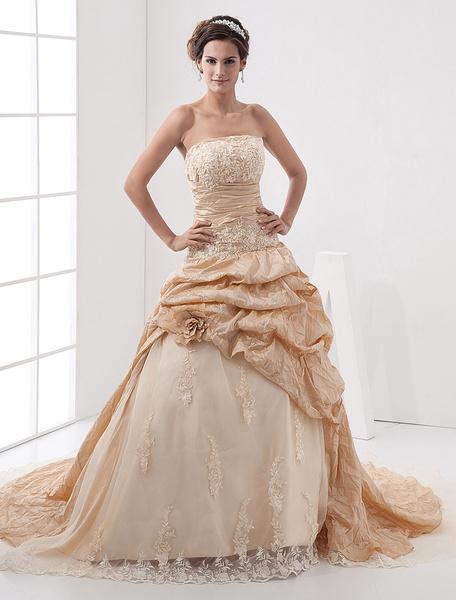 Milanoo Vestido de novia con escote palabra de honor y bordado
