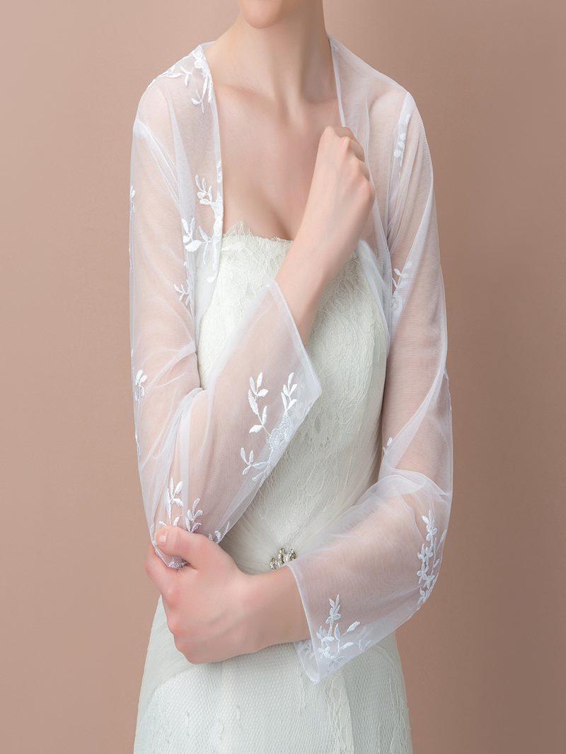 Admirable Long Sleeves Appliques Wedding Jacket