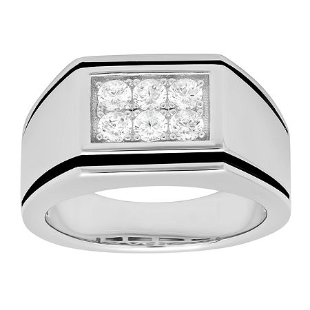 Mens Cubic Zirconia-Accent Ring Sterling Silver, 10 , No Color Family