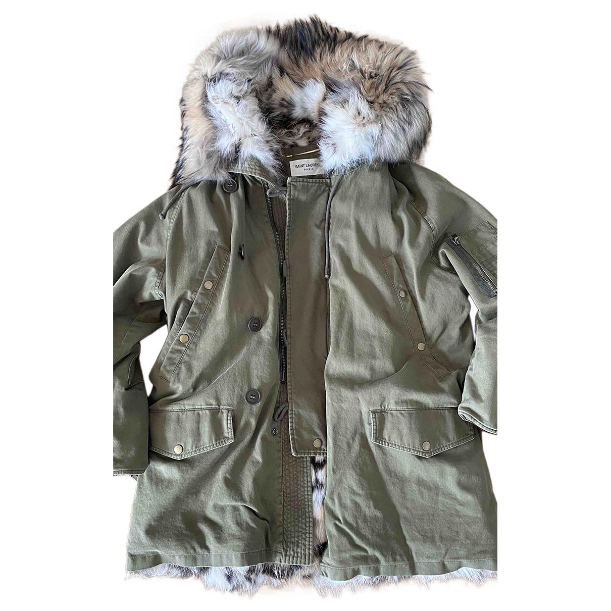Saint Laurent N Khaki Fox coat for Women 42 FR