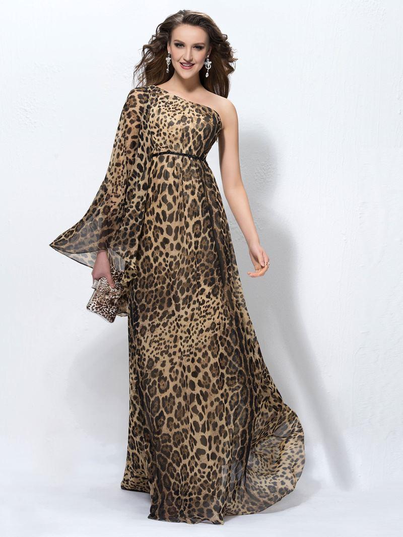 Ericdress Long Sleeve One Shoulder Leopard Print Evening Dress