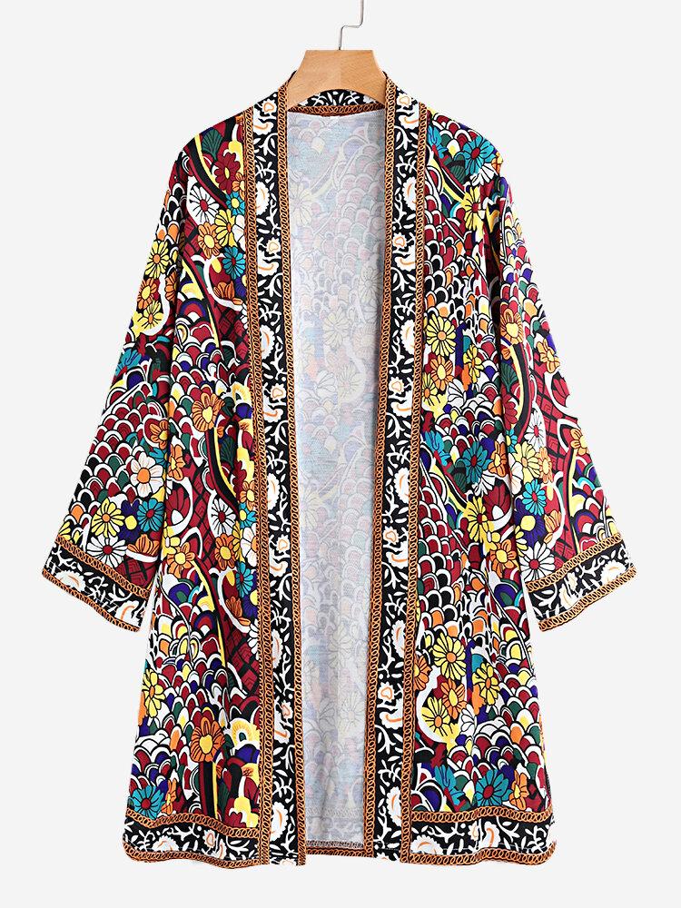Floral Print Split 3/4 Sleeve Thin Coat for Women
