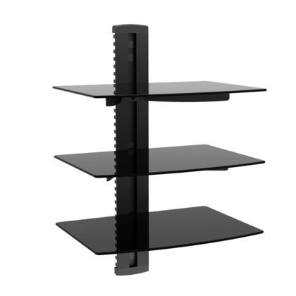 3 Tier Electronic Component Glass Shelf Wall Mount Bracket with Cable Management - Monoprice®