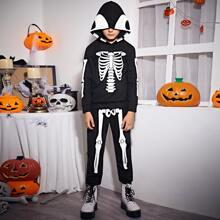 Kapuze mit Halloween Muster & Jogginghose Set