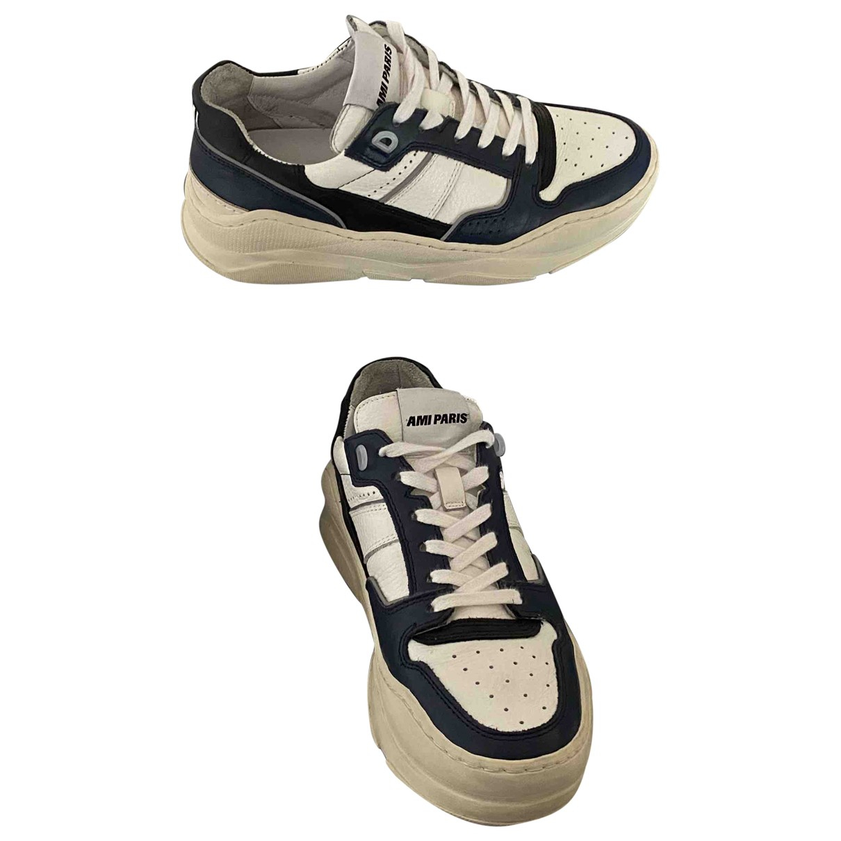 Ami \N White Leather Trainers for Men 39 EU