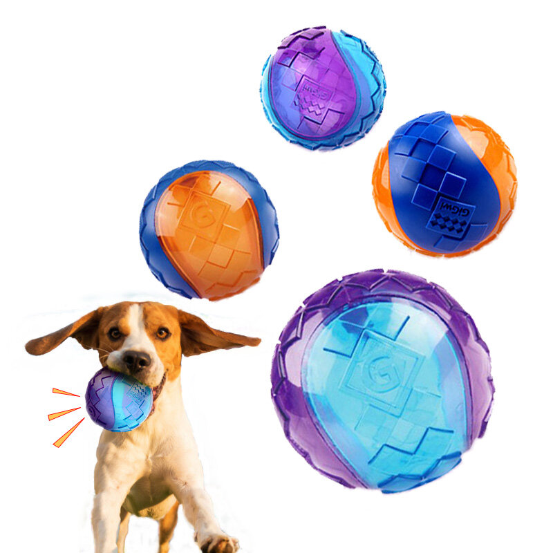 Dog Chew Toy Ball Interactive Dog Training Inflatable Grind Teeth Ball For Home Outdoor Games