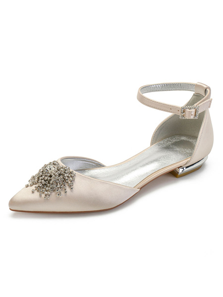 Milanoo Wedding Shoes Satin Ivory Pointed Toe Rhinestones Flat Ankle Strap Bridal Shoes