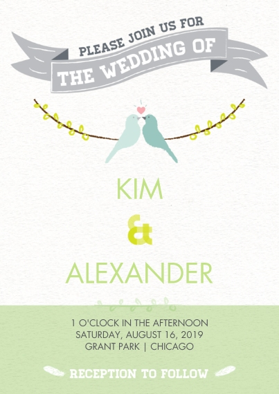 Wedding Invitations Flat Glossy Photo Paper Cards with Envelopes, 5x7, Card & Stationery -Lovebirds Wedding Invite