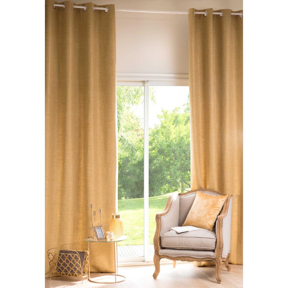 Osenvorhang aus currygelbem Stoff, 1 Vorhang 130x300