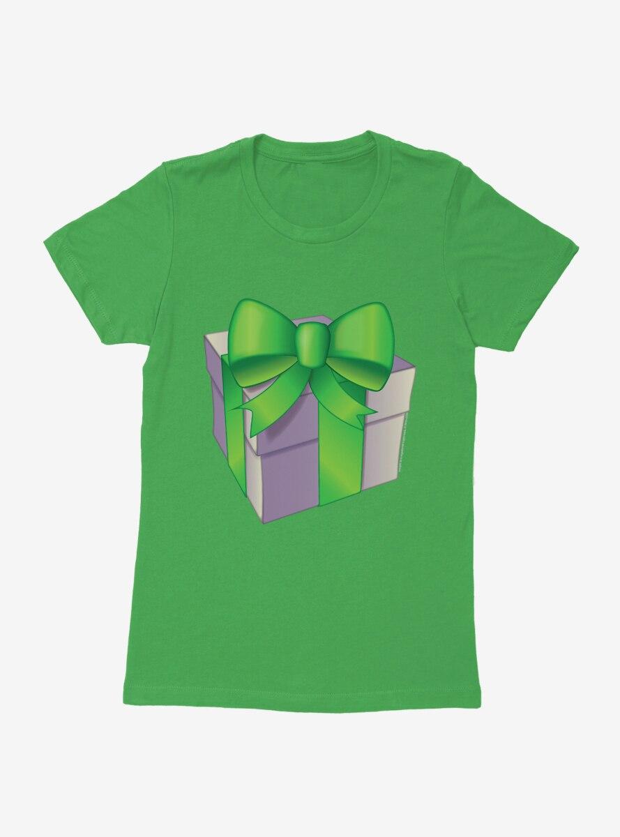 Emoji Holiday Icons Green Ribbon Present Womens T-Shirt