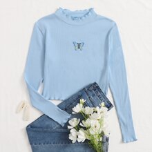 Butterfly Lettuce Trim Ribbed Tee
