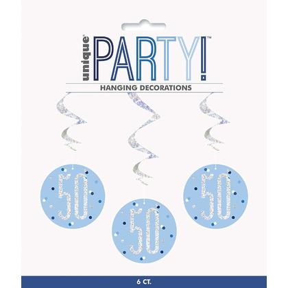 6 Birthday Glitz Blue & Silver Hanging Swirls 32