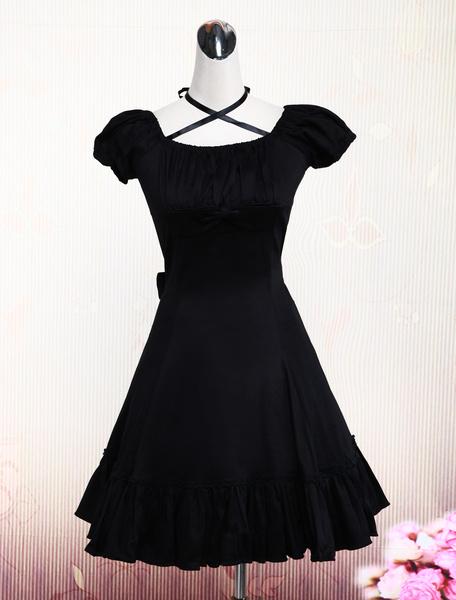 Milanoo Traje de lolita de algodon negro con escote cuadrado y volante fruncido