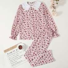 Conjunto de pijama top floral de puño fruncido de cuello bobo con pantalones