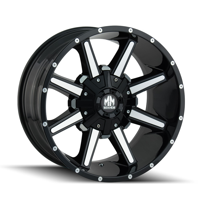 Mayhem Arsenal 8104 Gloss Black | Machined Face 17x9 6-120 | 6x139.7 18mm 78.10mm Wheel