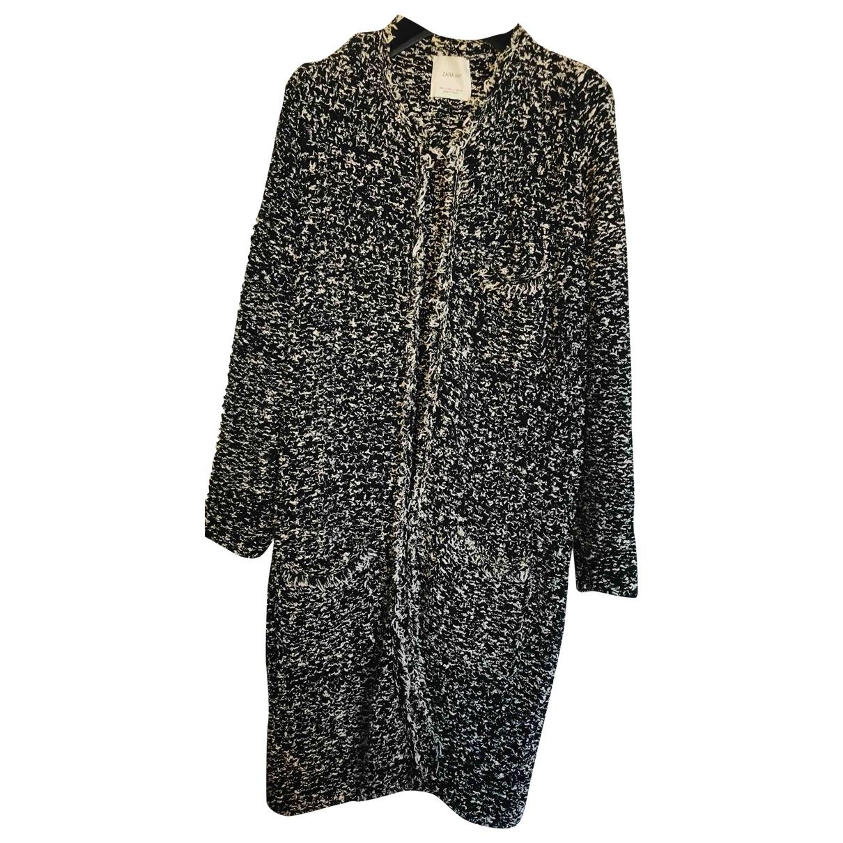 Zara - Manteau   pour femme en tweed - noir