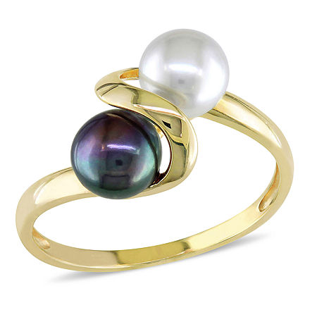 Cultured Freshwater White and Black Pearl 10K Yellow Gold Ring, 8 , No Color Family