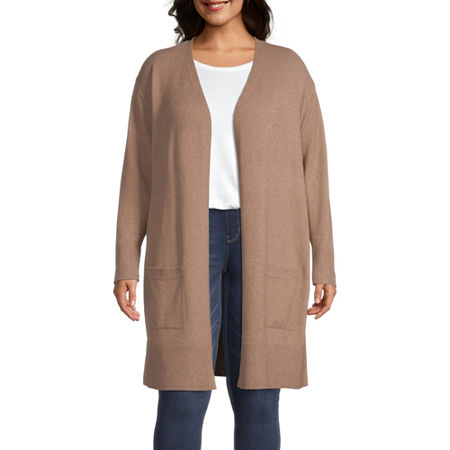 a.n.a-Plus Womens Long Sleeve Open Front Cardigan, 5x , Brown