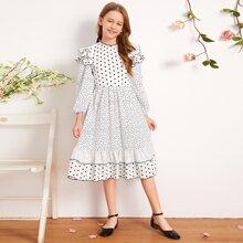 Maedchen Kleid mit mehrschichtigem Raffungsaum, Bischofaermeln und Punkten Muster